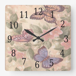 Butterfly Square Clock