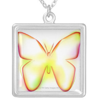 Butterfly Square Pendant Necklace