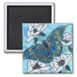 Butterfly stained glass 2 inch square magnet