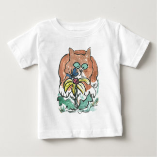 Butterfly Staring, Kitten is Almost Cross Eyed Baby T-Shirt