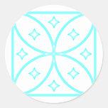 Butterfly Stars Cyan Classic Round Sticker