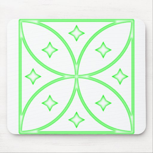 Butterfly Stars Green Mouse Pad