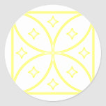 Butterfly Stars Yellow Classic Round Sticker