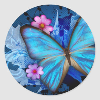 Butterfly Stcker Classic Round Sticker