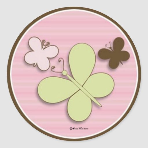 Butterfly Sticker in Pink and Brown