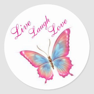 "Butterfly Sticker/Pink ""Live Laugh Love"" Classic Round Sticker"