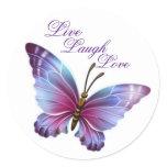 "Butterfly Sticker/Purple ""Live Laugh Love"" Classic Round Sticker"