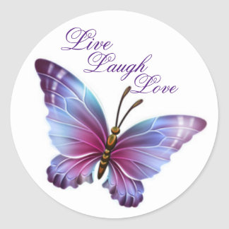 "Butterfly Sticker/Purple ""Live Laugh Love"" Classic Round Sticker"