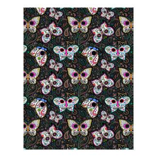 butterfly sugar skull scrapbook paper 8.5 x 11 letterhead design