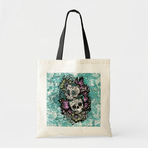 Butterfly sugar skulls illustration in blue. tote bags