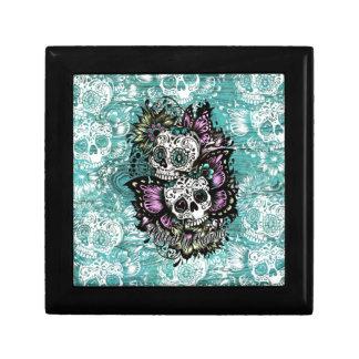 Butterfly sugar skulls illustration in blue. jewelry box