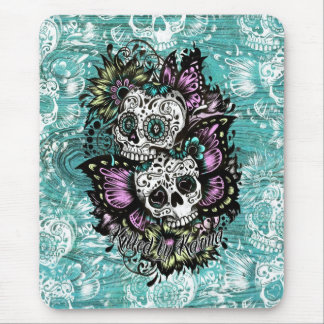 Butterfly sugar skulls illustration in blue. mouse pad