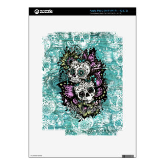 Butterfly sugar skulls illustration in blue decal for iPad 3