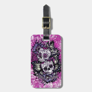 Butterfly sugar skulls on pink wood base. bag tag