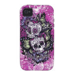 Butterfly sugar skulls on pink wood base. vibe iPhone 4 cover