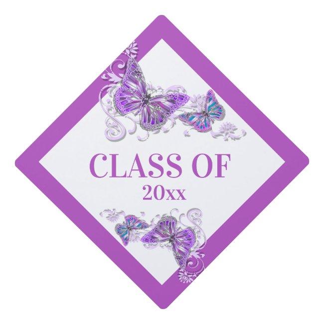 Butterfly summer pink purple class of elegant graduation cap topper