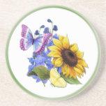 Butterfly Sunflower Garden Beverage Coasters