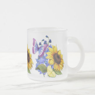 Butterfly Sunflower Garden Frosted Glass Coffee Mug