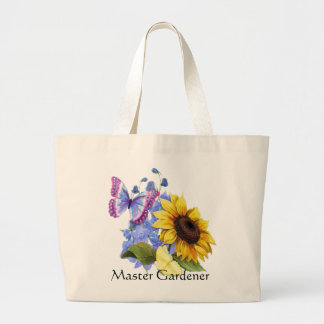 Butterfly Sunflower Garden Large Tote Bag