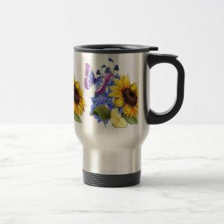 Butterfly Sunflower Garden Travel Mug