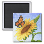 Butterfly & Sunflower Magnet 2 Inch Square Magnet