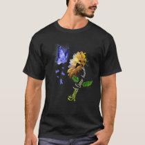 Butterfly Sunflower Stomach Cancer Awareness T-Shirt