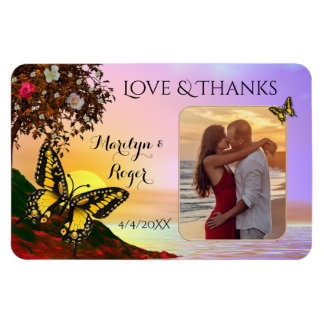 Butterfly Sunset Wedding Photo Thank You Magnet