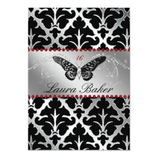 Butterfly Sweet 16 Invite Damask Red Sparkle