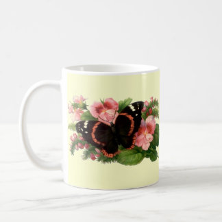 Butterfly & Sweet Pea Floral Garden Gifts Design Coffee Mug