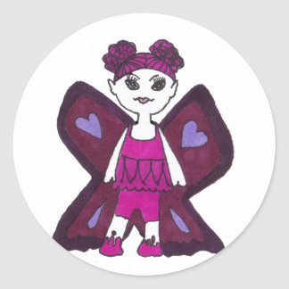 butterfly sweetie classic round sticker