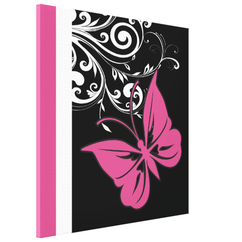 Butterfly Swirls Cranberry Pink Stretched Canvas Prints