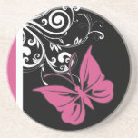 Butterfly Swirls Cranberry Pink Coaster