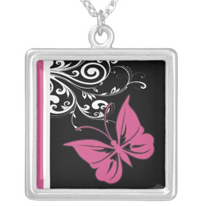 Butterfly Swirls Cranberry Pink Custom Necklace