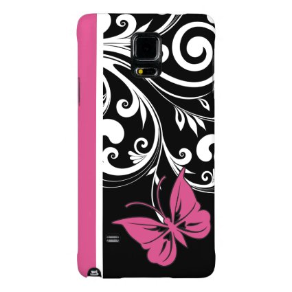 Butterfly Swirls Cranberry Pink Galaxy Note 4 Case