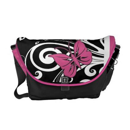 Butterfly Swirls Cranberry Pink Messenger Bags
