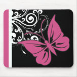 Butterfly Swirls Cranberry Pink Mouse Pads