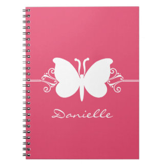 Butterfly Swirls Notebook, Pink Spiral Notebook