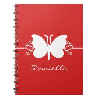 Butterfly Swirls Notebook, Red Spiral Notebook