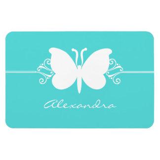 Butterfly Swirls Premium Magnet, Aqua Rectangular Photo Magnet