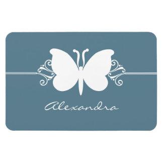 Butterfly Swirls Premium Magnet, Blue Rectangular Photo Magnet