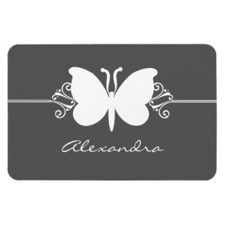 Butterfly Swirls Premium Magnet, Gray Rectangular Photo Magnet