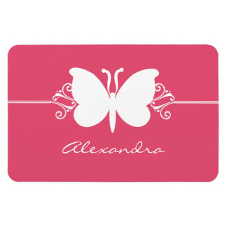 Butterfly Swirls Premium Magnet, Pink Rectangular Photo Magnet