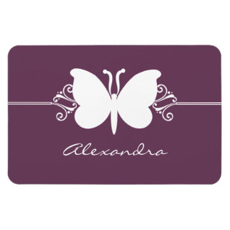 Butterfly Swirls Premium Magnet, Purple Rectangular Photo Magnet