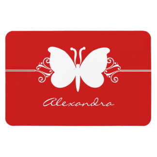 Butterfly Swirls Premium Magnet, Red Rectangular Photo Magnet