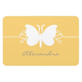 Butterfly Swirls Premium Magnet, Yellow Rectangular Photo Magnet