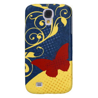 Butterfly Swirls Red Blue Yellow iPhone 3G Case Samsung Galaxy S4 Cover