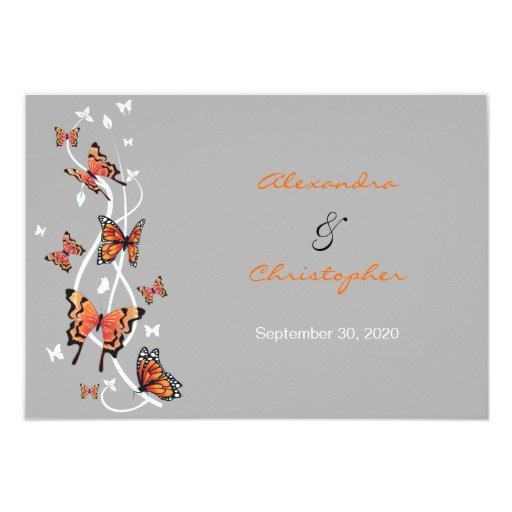 Butterfly & Swirls RSVP Wedding Announcement