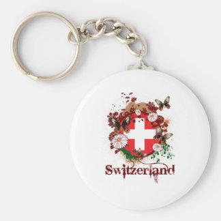 Butterfly Switzerland Basic Round Button Keychain