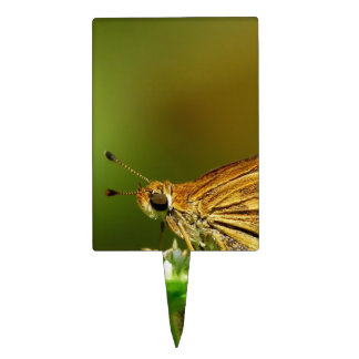 Butterfly Tamil Grass Dart with Bokeh Background Rectangular Cake Picks