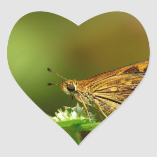 Butterfly Tamil Grass Dart with Bokeh Background Heart Stickers